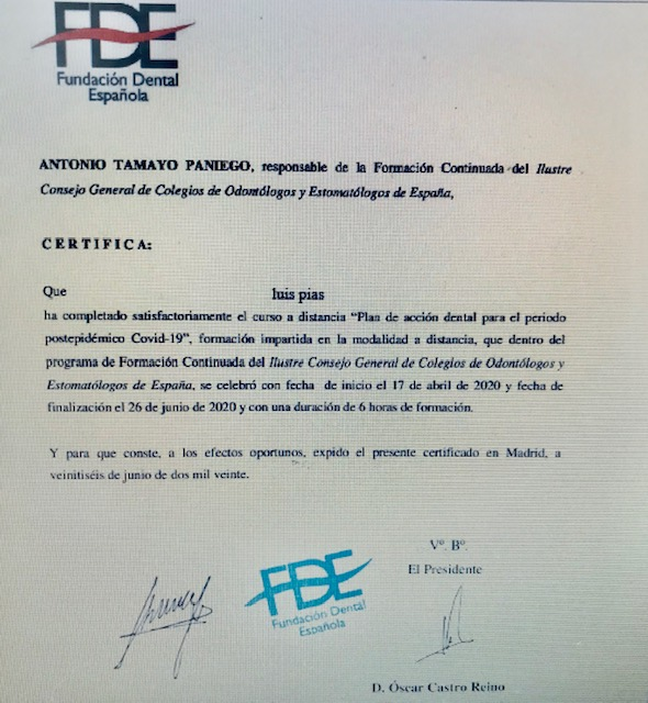 CERTIFICADO BIOSEGURIDAD PIAS CLINICA DENTAL